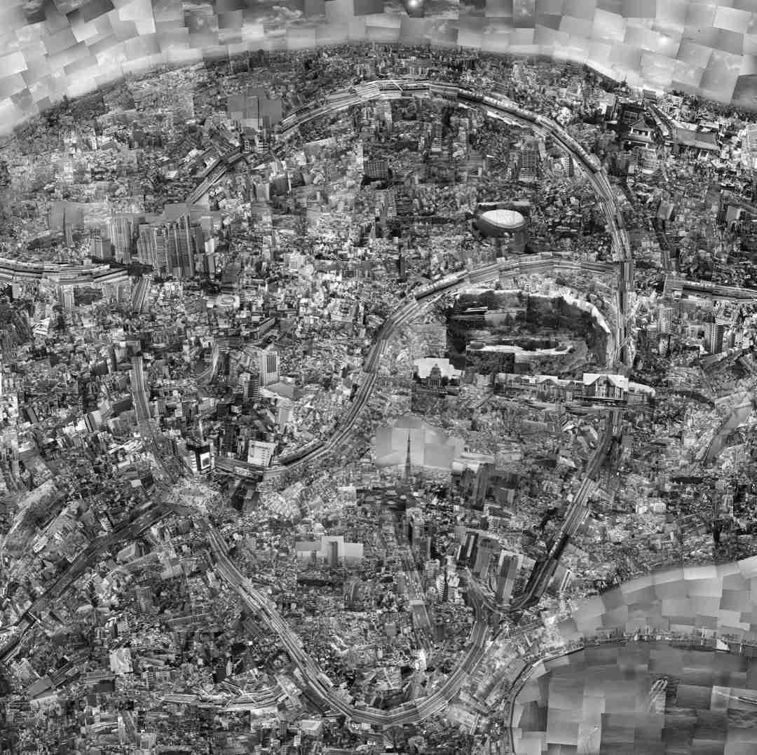 Sohei Nishino Diorama Map Tokyo 2004, 2009 Light jet print on Kodak colour paper, mounted on to aluminum and floated in handmade frame 88.4 x 88.4 cm © Sohei Nishino, courtesy of Michael Hoppen Gallery