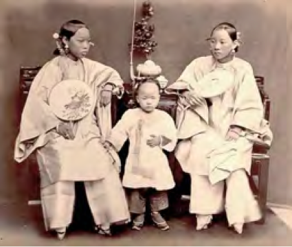 Lai Fong, Portrait of Women and Child from Xiamen. 1870s.