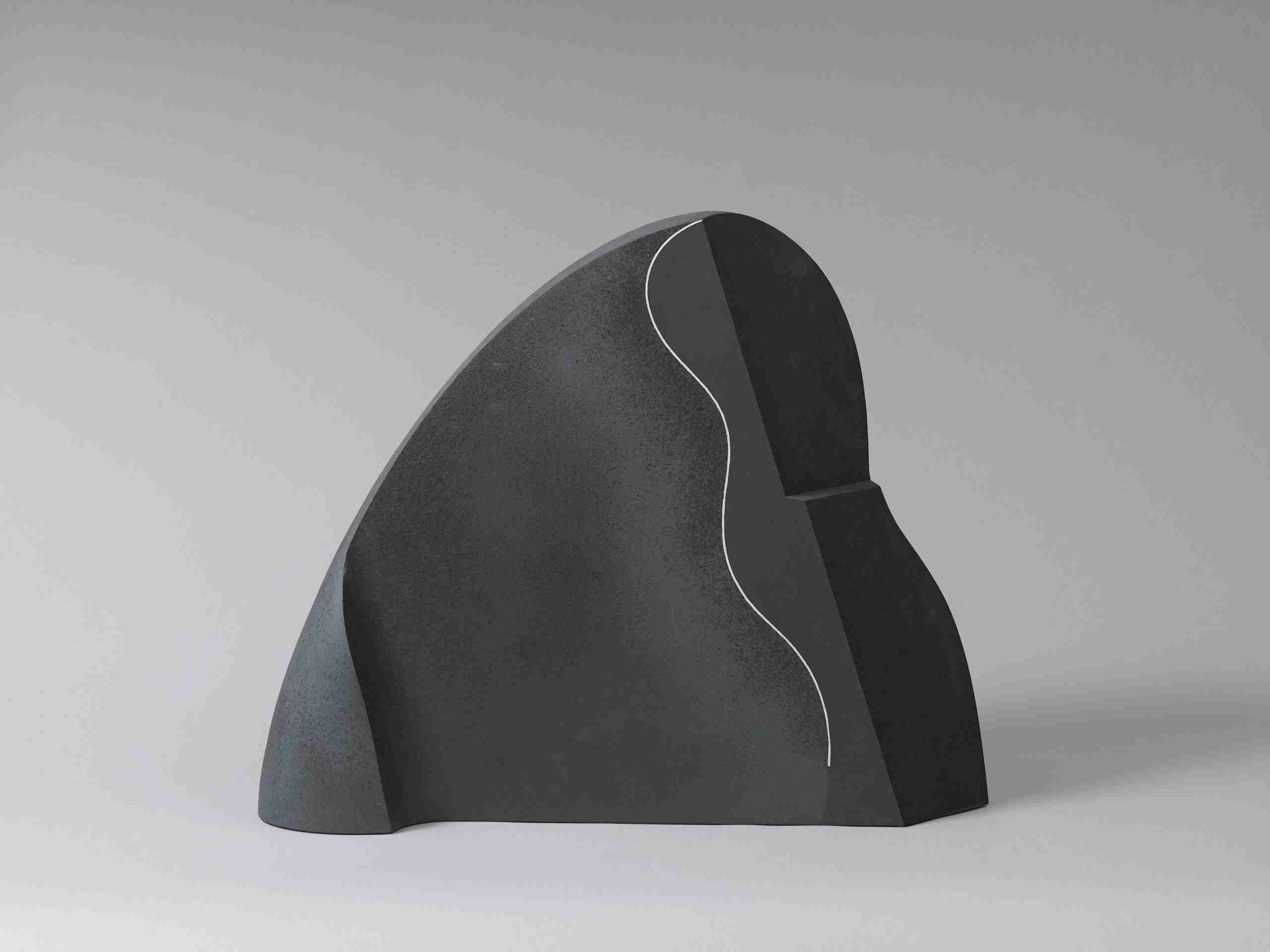 Yasuo Hayashi (b. 1928) A black ceramic sculpture of abstract form Dated '85 and signed Yasuo Japan, 20th century, 1985