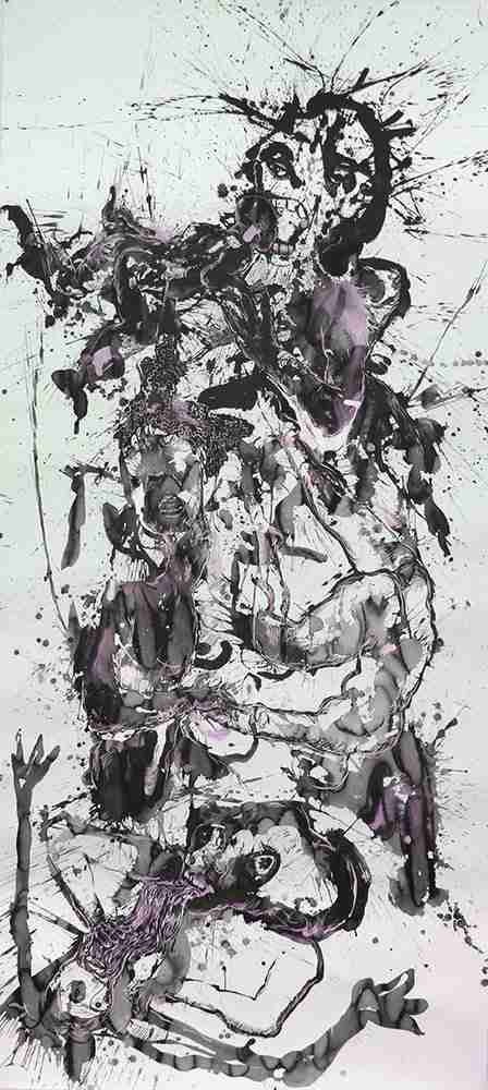 310 x 140 cm Ink and watercolour on paper