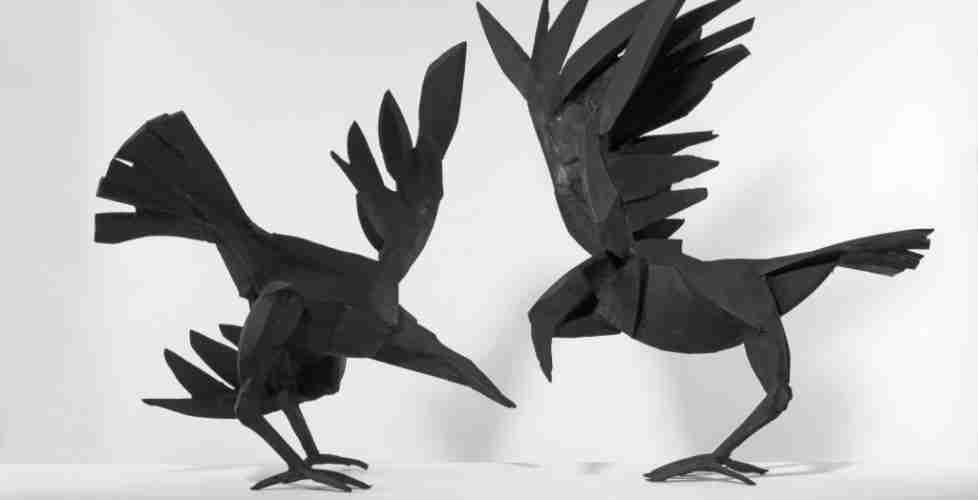 Two Ravens, Bronze, Edition of 9, 70h x 60w x 60d cm each.