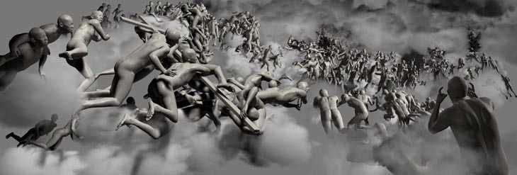 Miao Xiaochun - The Last Judgement in Cyberspace -The Vertical View. 2006